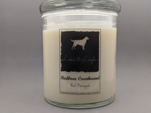 Redbone Coonhound - Red Pineapple scented 16oz candle