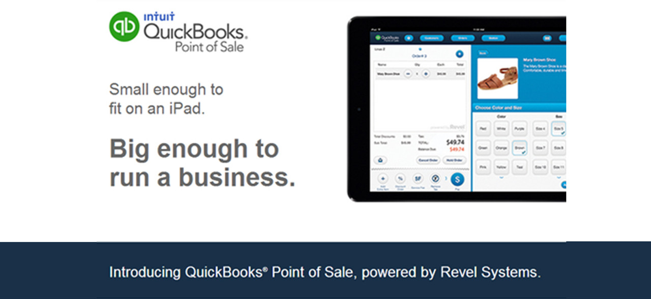 QuickBooks point of sale, small enough to fit on an iPad, big enough to run a business.