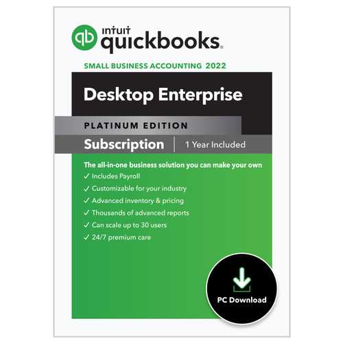 QuickBooks Enterprise 2022 Platinum Edition for PC or MAC with Hosting Service (Monthly)