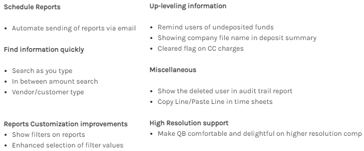 QuickBooks 2021 Features; Up-leveling information; reports customization