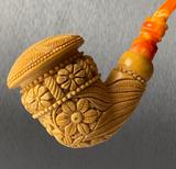 Polynesian King Calabash Caramel Finish by Master Carver Baglan Meerschaum Pipe Paykoc