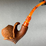 Rustic Wood Stump Meerschaum Pipe with Mahogany Finish by Paykoc