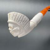 Skull Native Chief Meerschaum Churchwarden Pipe by Paykoc M09044