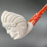 "Native American Chief with Headdress 8"" Meerschaum Churchwarden Pipe"