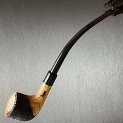 Rustic Billiard Olive Wood Tobacco Pipe Featuring Meerschaum Bowl Interior 1 Count Assorted Rustication
