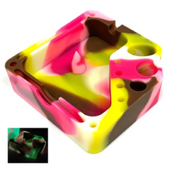 Silicone Glow In The Dark Dabber Ashtray with Tool Holsters and Bowl Knockout - Pink Camo