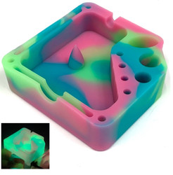 Silicone Glow In The Dark Dabber Ashtray with Tool Holsters and Bowl Knockout - Green Blue