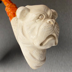 American Pitbull Dog Bust I Meerschaum Tobacco Pipe by Paykoc