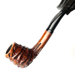 Oval Shank Billiard Valhalla Heavy Sand Carved Eric Nording Briar Tobacco Pipe by Paykoc 1 Count