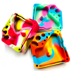 Silicone Glow in The Dark Dabber Ashtray with Tool Holsters and Bowl Knockout - 1 Random Color