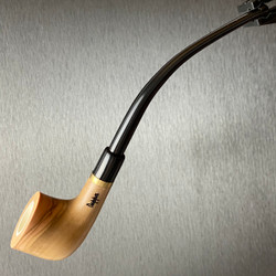 Chimney Top Polished Olive Wood Tobacco Pipe Featuring Meerschaum Bowl Interior 1 Count