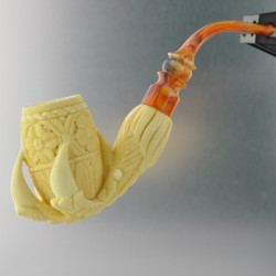 Meerschaum Medet Signature Claw With Leaves Pipe By Paykoc M74001