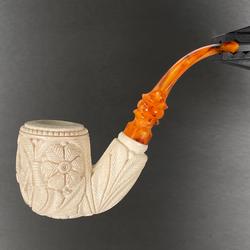 Freemason Elaborate Floral Bottom Full Bend Meerschaum Pipe by Paykoc M06012