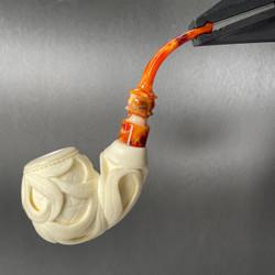 Art Deco Palm Leaves Full Bend Cream Finish by Master Carver Baglan Meerschaum Pipe Paykoc