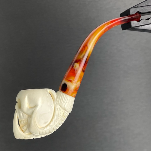 Meerschaum Pocket Claw Clutching Skull Pipe Full Bend By Paykoc M11019