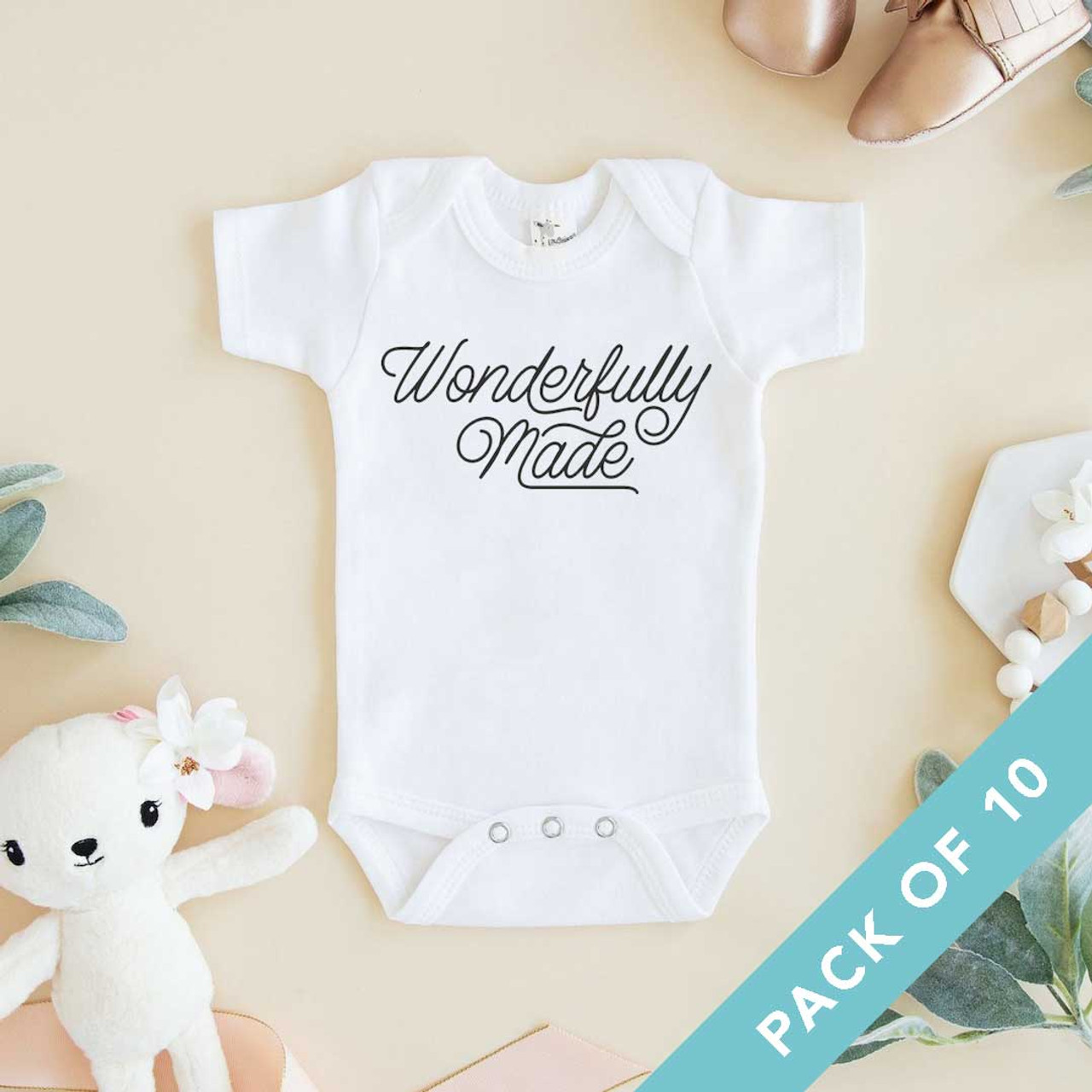 Wonderfully Made Onesies - Sold in packs of 10