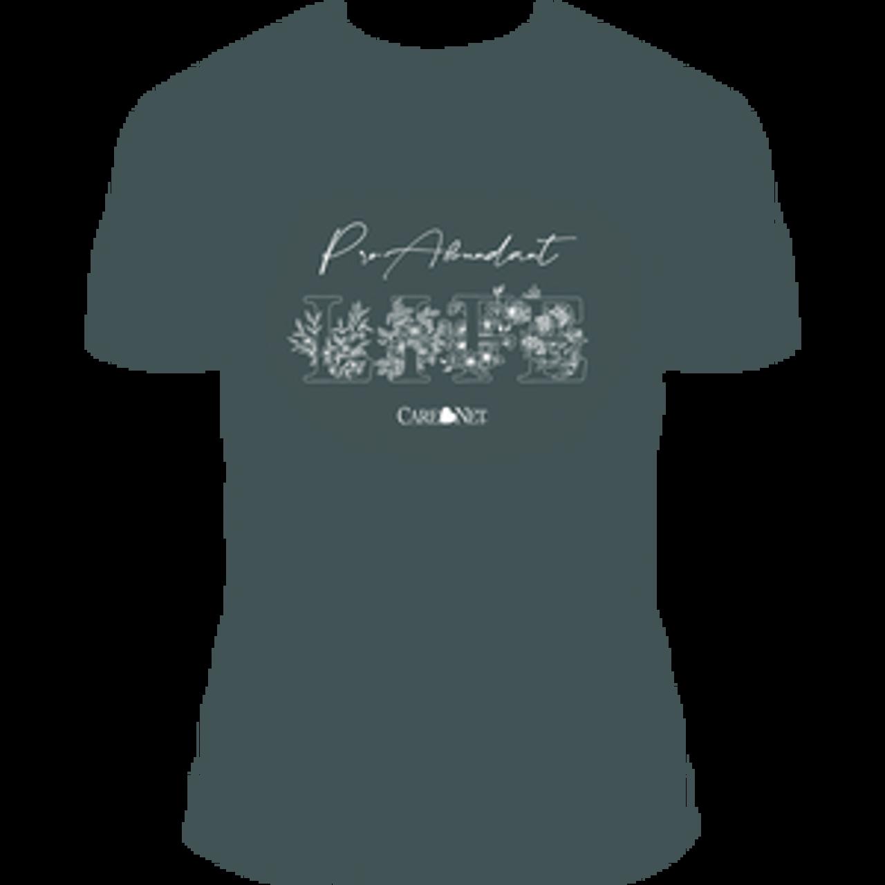 Floral Pro-Abundant Life T-Shirt -- V-Neck