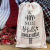 Vintage Christmas Cotton Canvas Drawstring Bags Set of 3 Designs