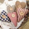 Homespun Fabric Rustic Heart Christmas Ornaments - Set of 5