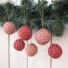 Primitive Red Plaid Homespun Christmas Ball Ornaments Set of 12