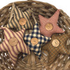 Homespun Fabric Rustic Star Christmas Ornaments - Set of 5