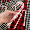 Cherry Red Homespun Fabric Candy Cane Ornaments - Set of 6