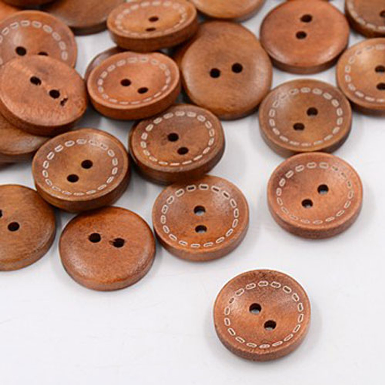 """3/4"""" Saddle Brown Wood Button with Stitch Line Set of 12"""