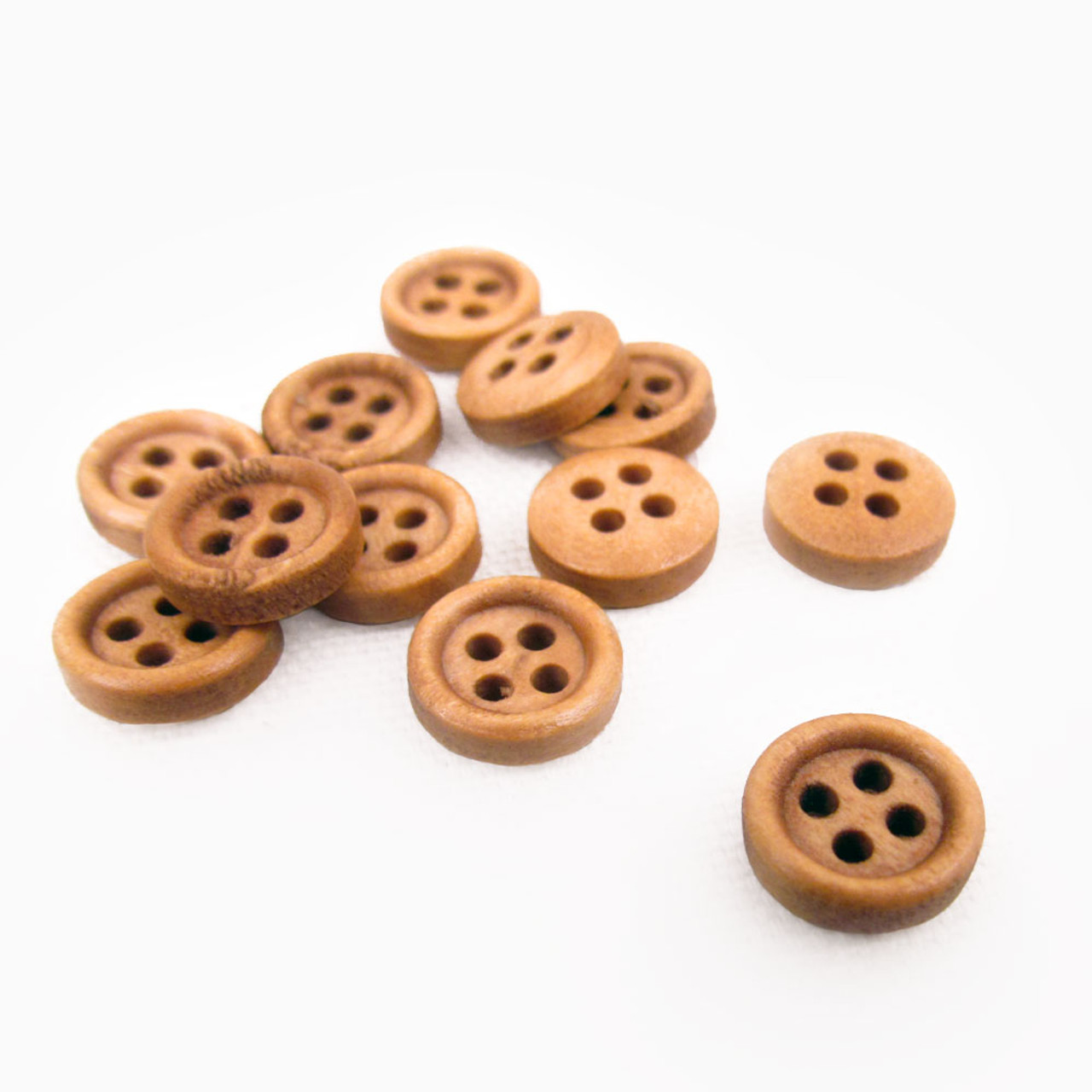 "1/2"" Hazelnut Small Round Wood Button - Set of 12"