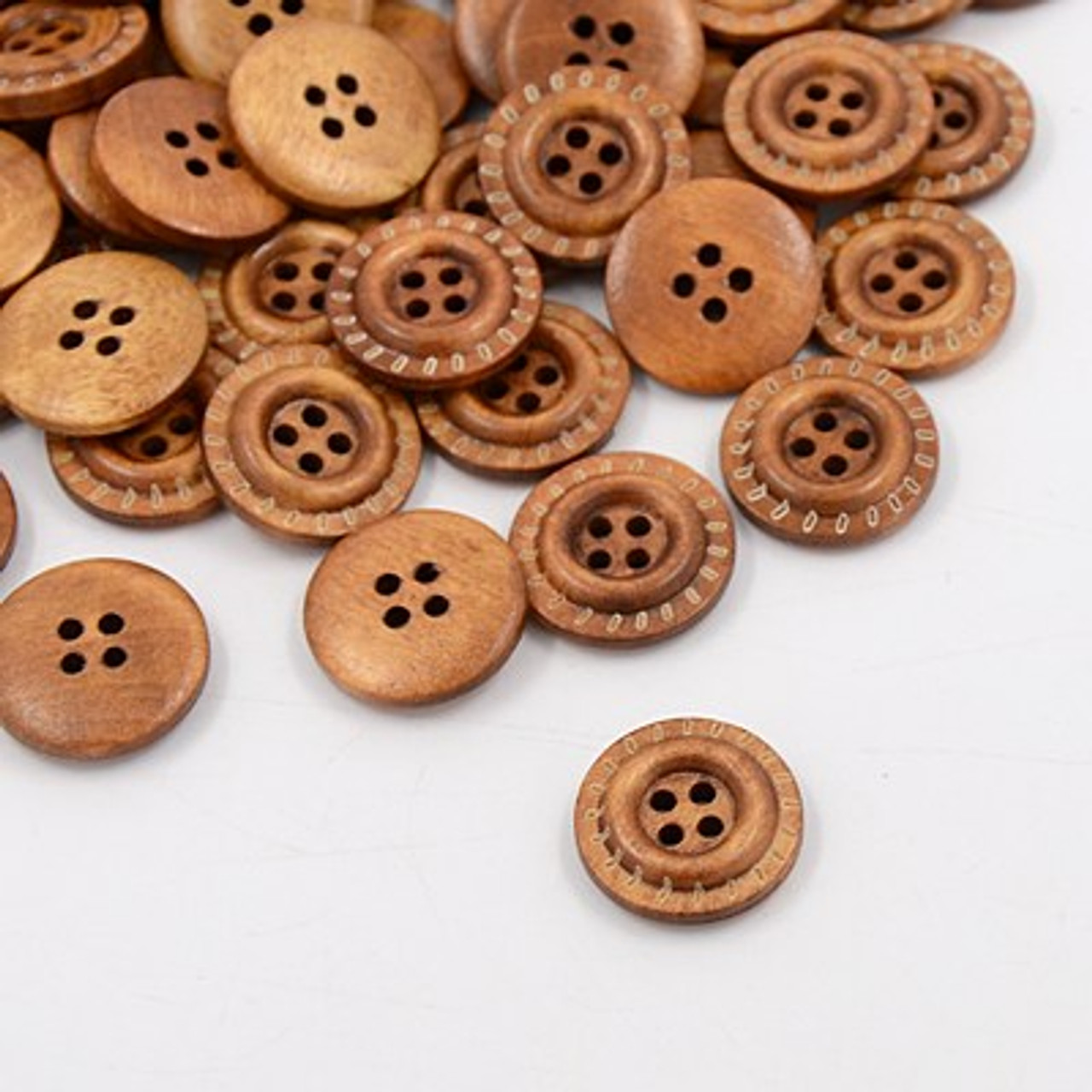 "3/4"" Terracotta Color Round Wood Button Set of 12"