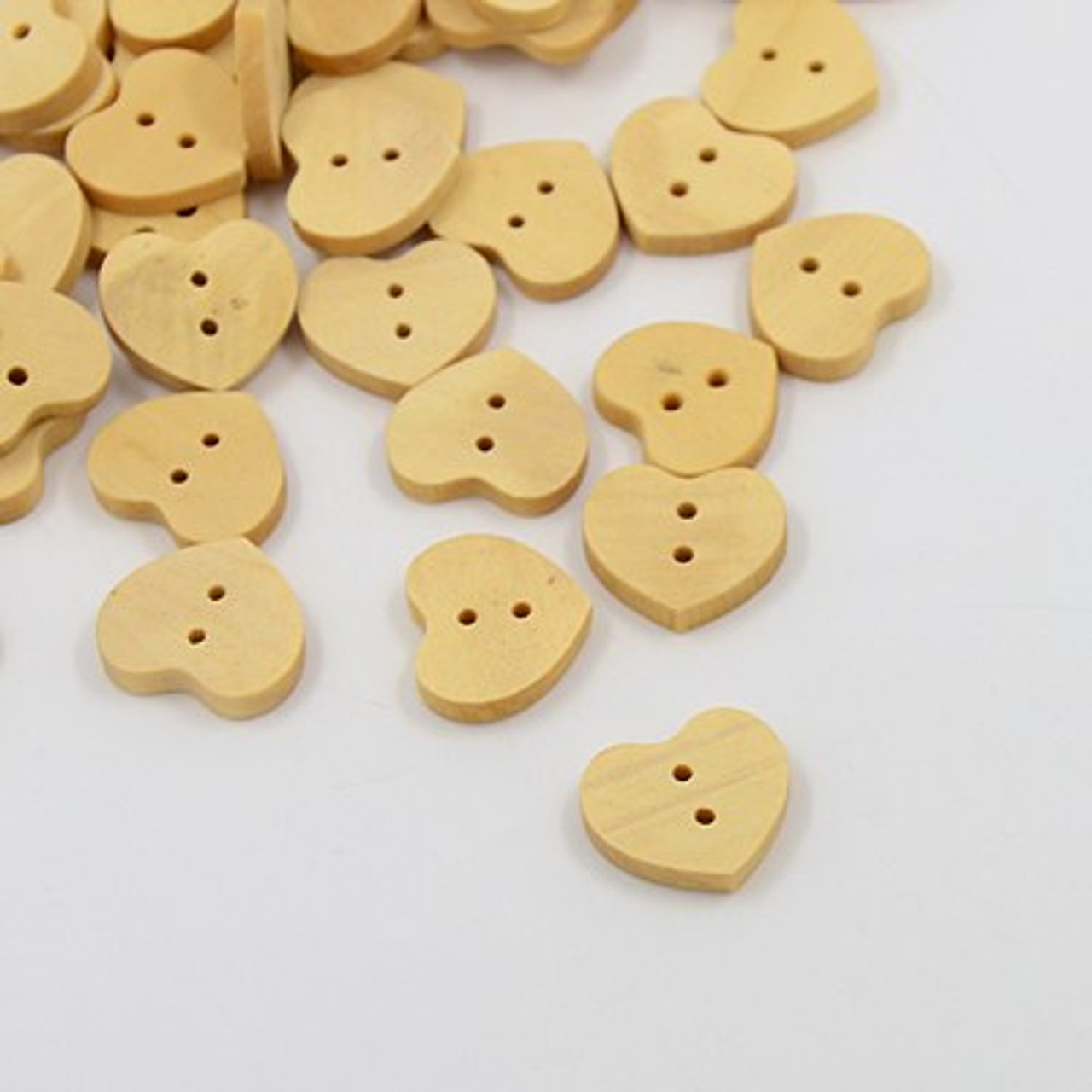 "5/8"" Oh My Heart Natural Wood Button Set of 12"