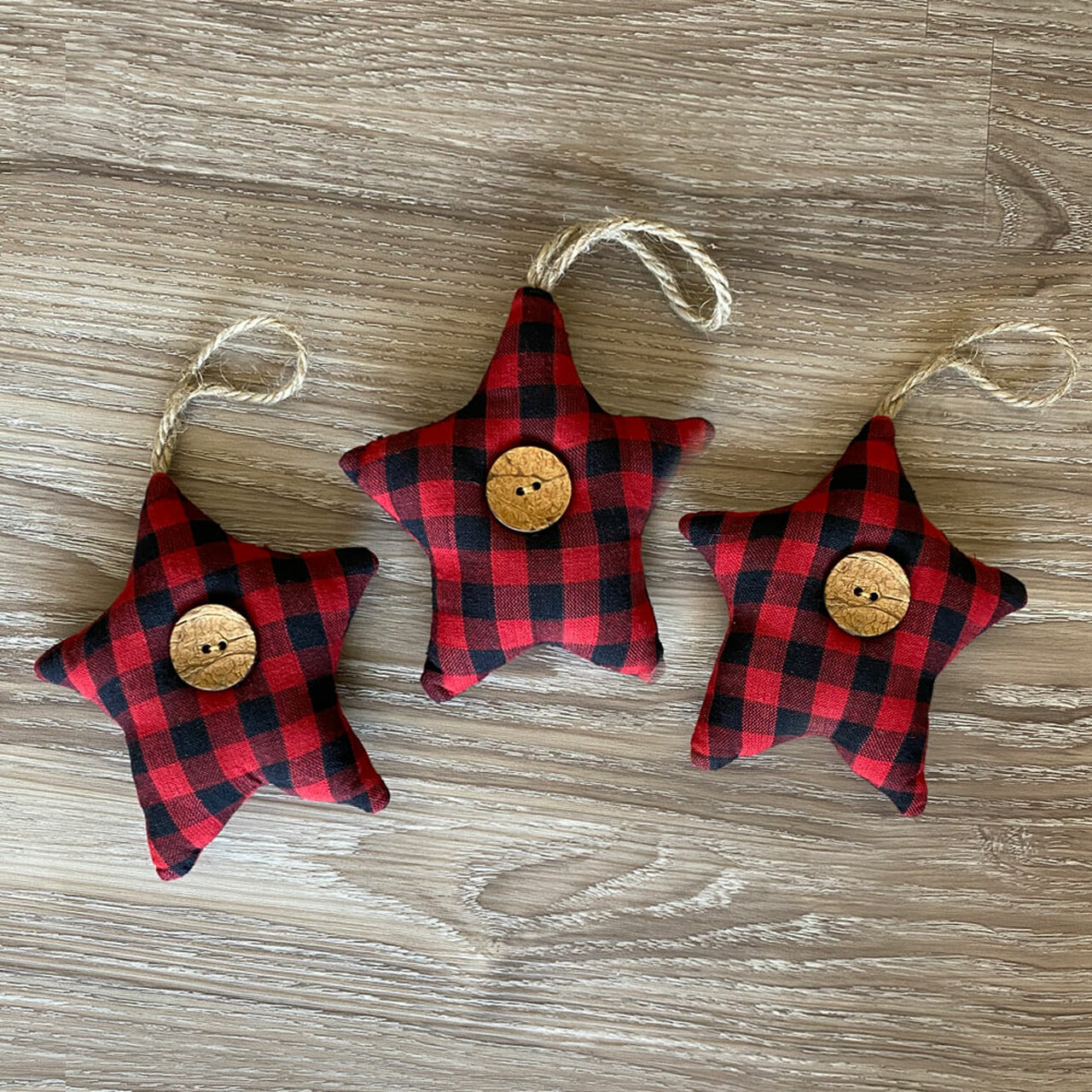 Red & Black Mini Buffalo Plaid Homespun Fabric Star Christmas Ornaments - Set of 3