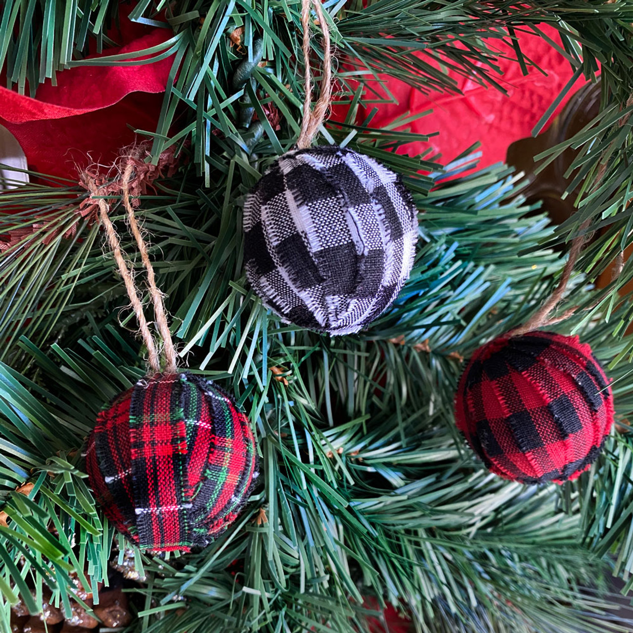 Tartan & Buffalo Plaid Homespun Christmas Ball Ornaments Set of 12