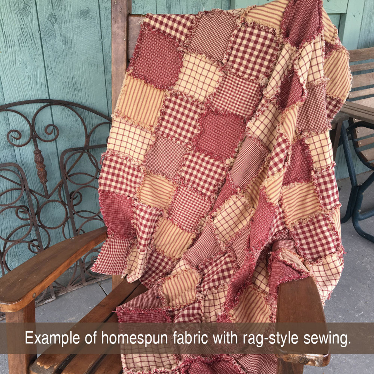 Primitive Red 7 Homespun Cotton Fabric
