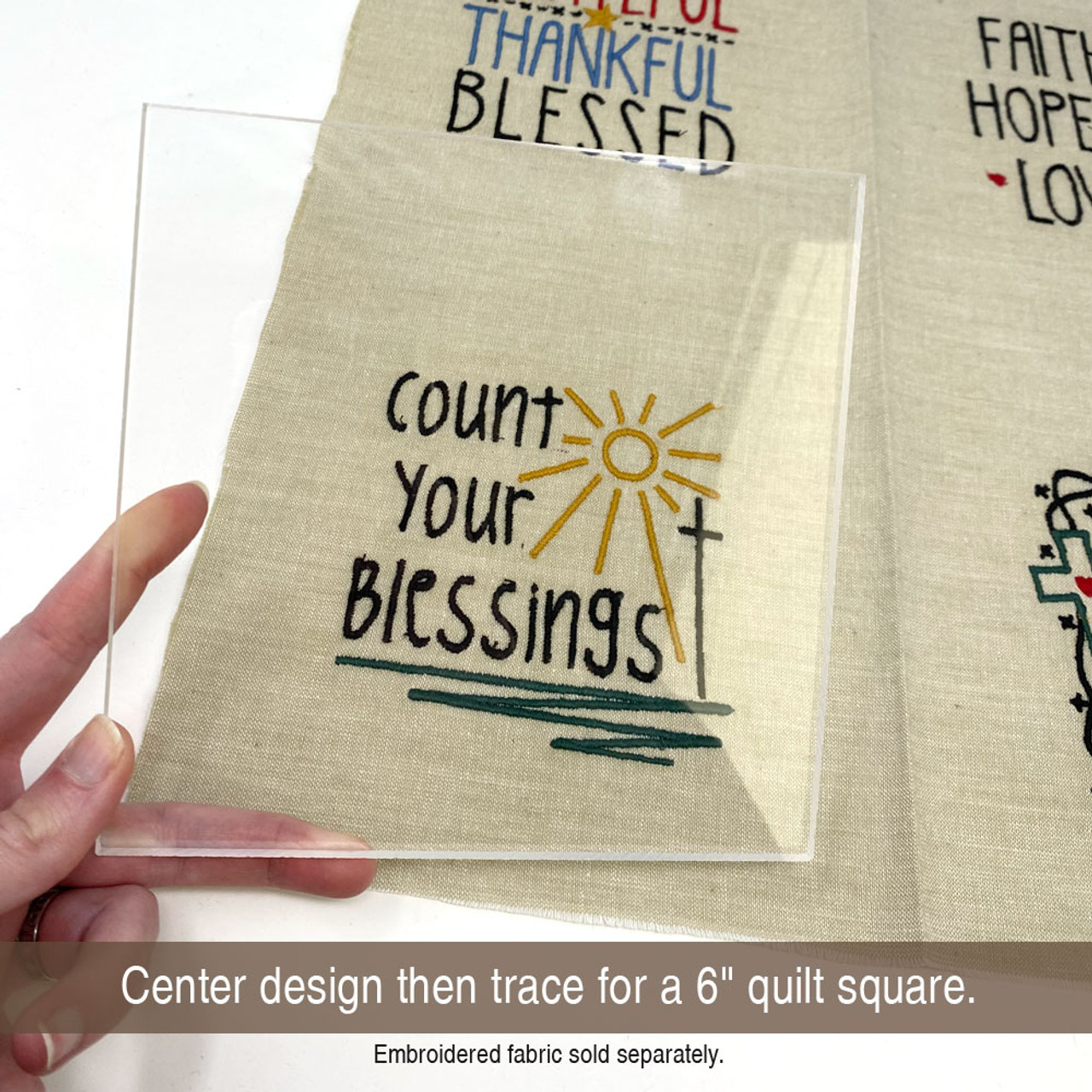 "6"" Clear Acrylic Square Template for Fussy Cuts"