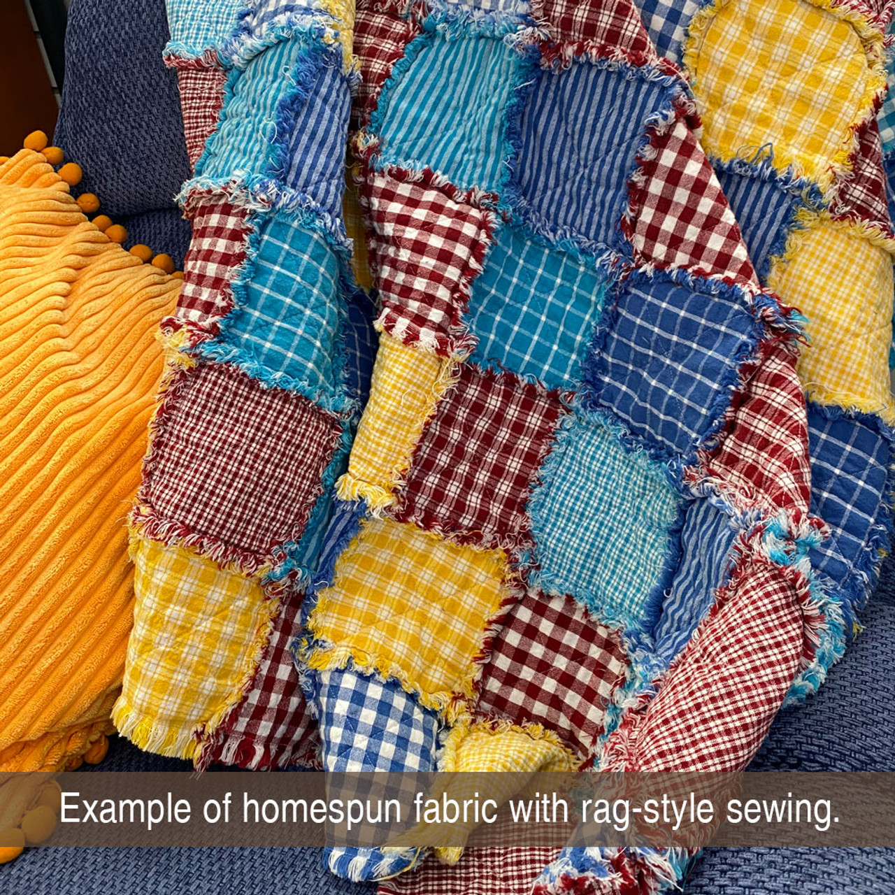 Cottage  Blue 6 Plaid Homespun Cotton Fabric