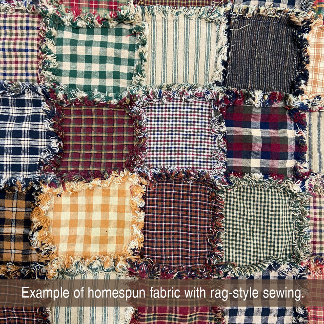 Red & Khaki 3 Homespun Cotton Fabric