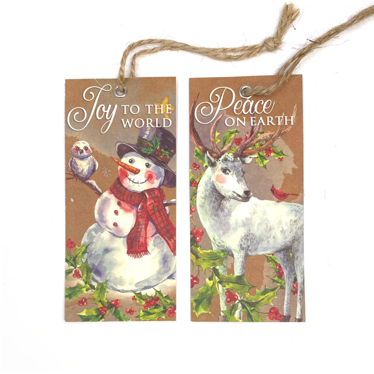 Vintage Christmas Homespun Kraft Ornaments  - Set of 12