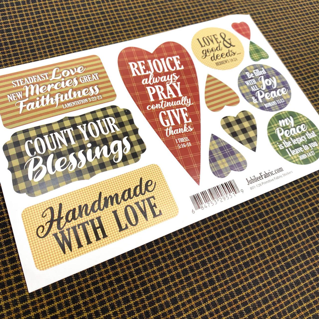 Primitive Faith & Fabric Encouragement Stickers - 12 stickers