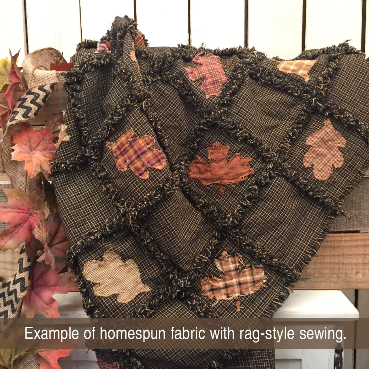 Antique Black Homespun Cotton Fabric