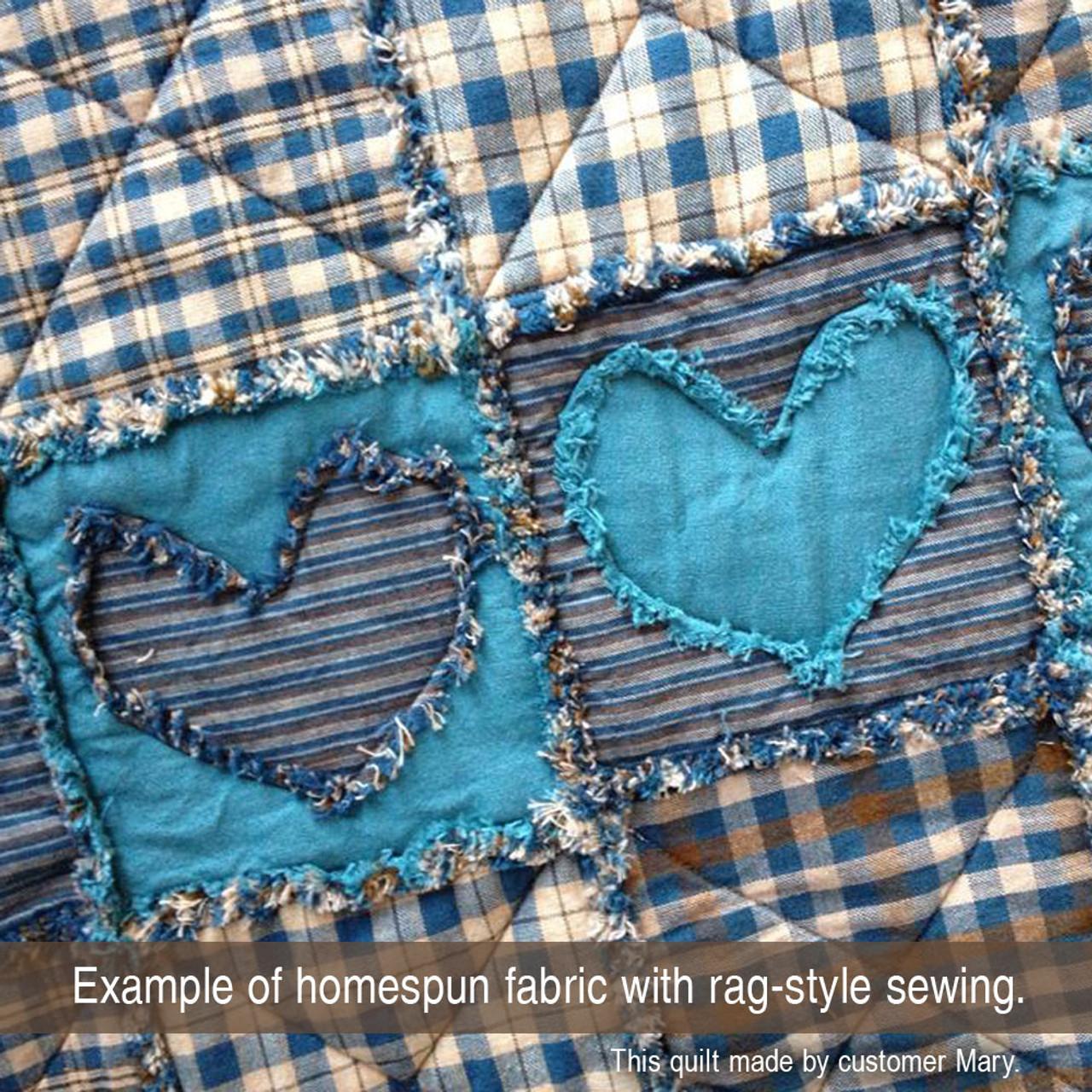 Vintage Blue 3 Homespun Cotton Fabric