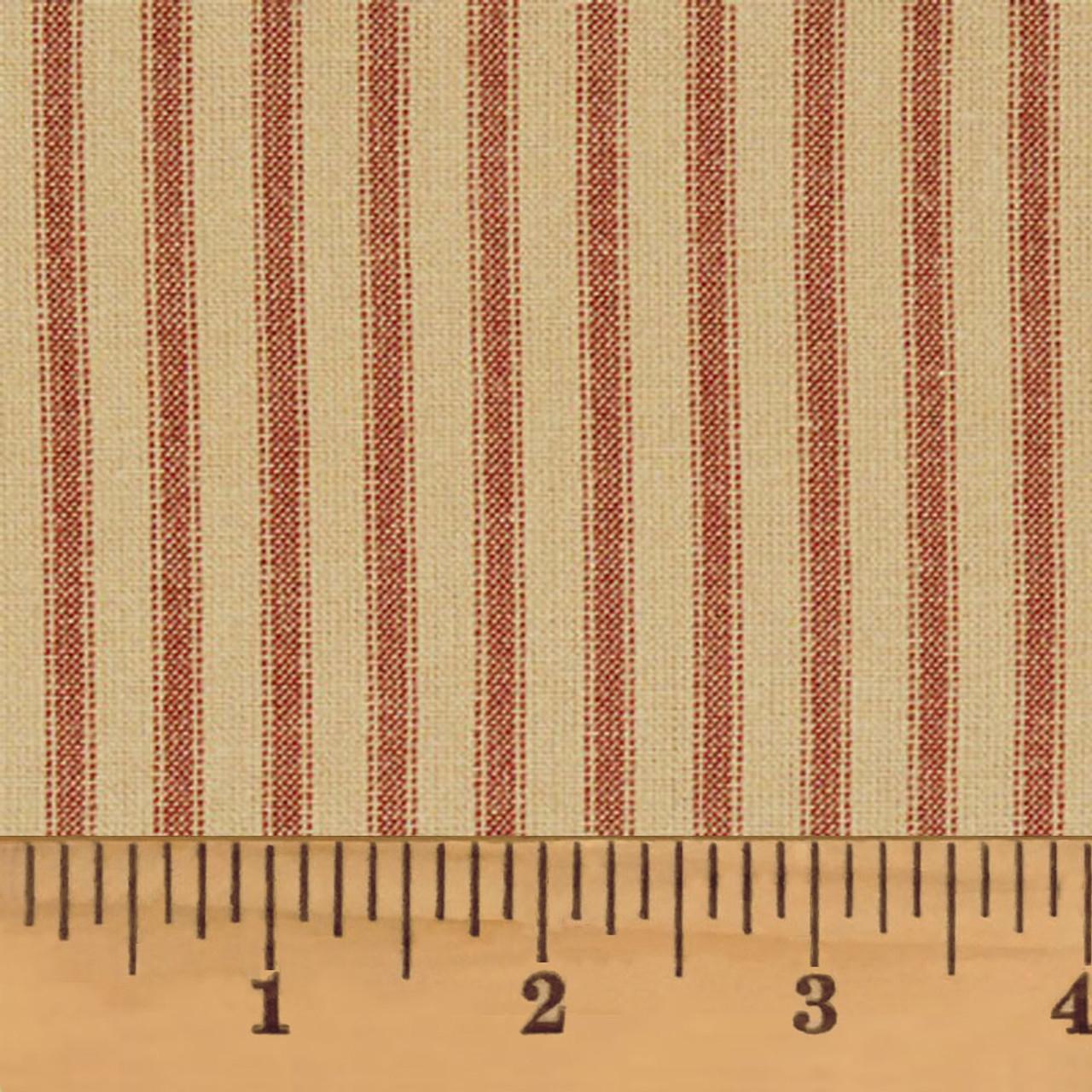Red & Tea Dye Ticking Stripe Homespun Cotton Fabric