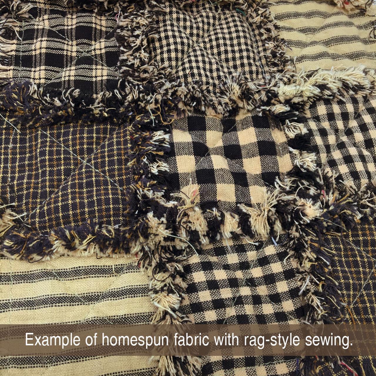 Primitive Black Ticking Stripe Homespun Fabric