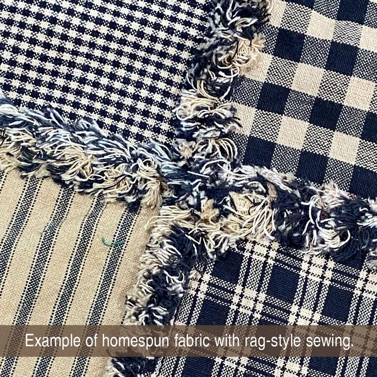 Primitive Black Ticking Stripe Homespun Cotton Fabric
