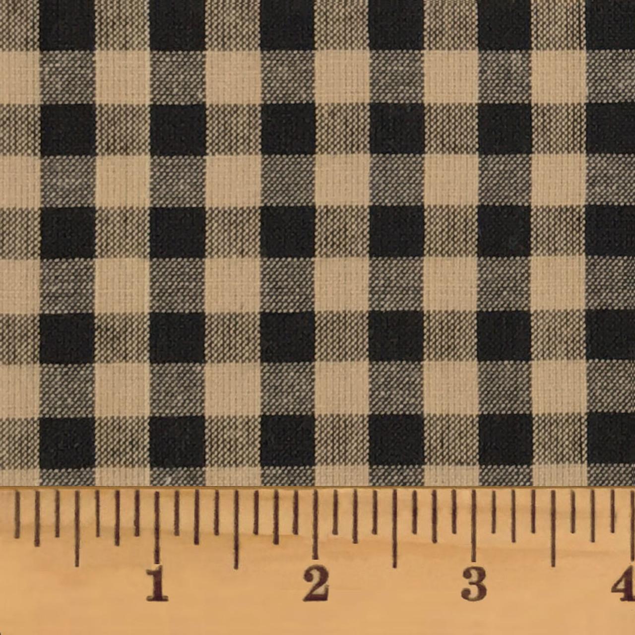 Primitive Black Mini Buffalo Homespun Cotton Fabric