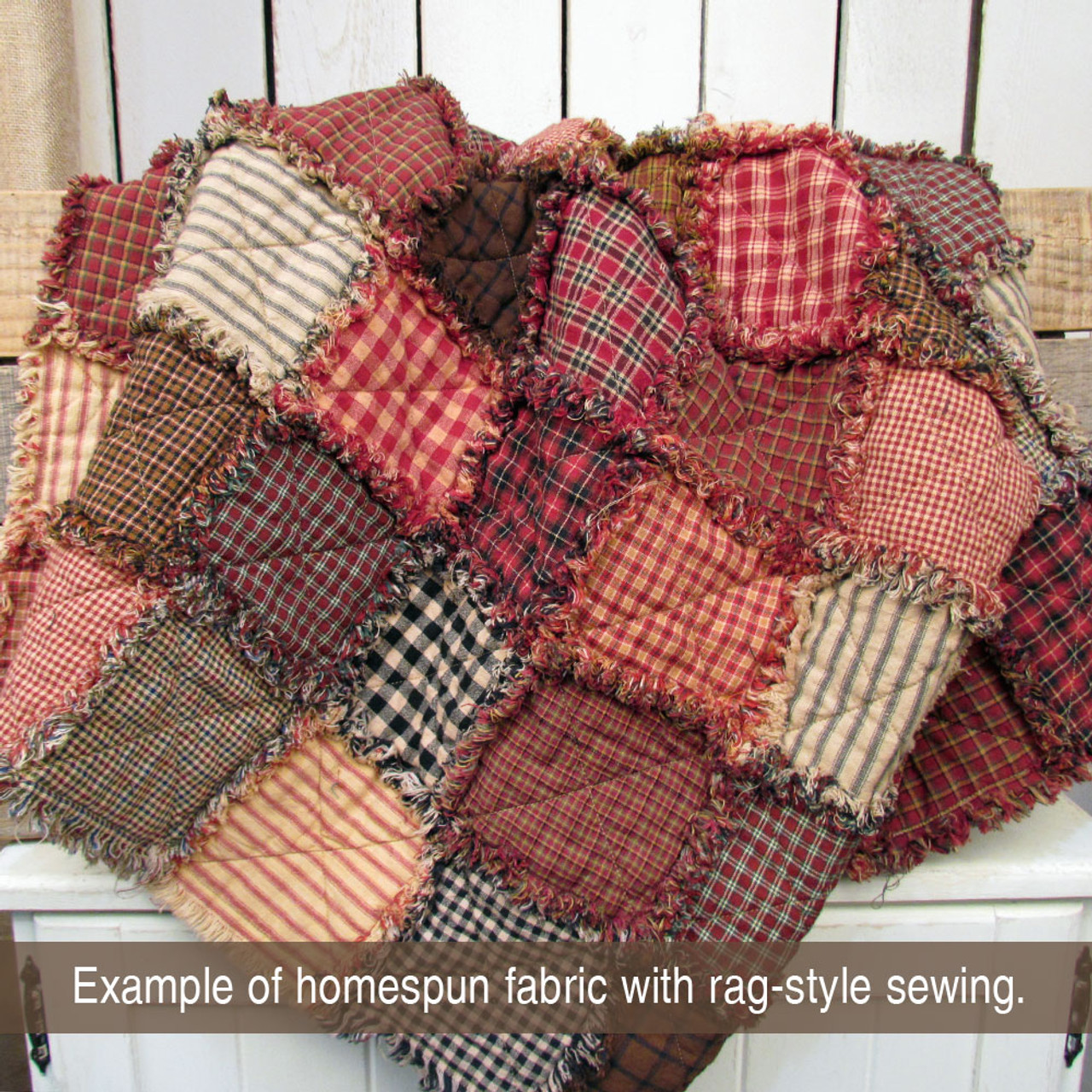 40 Farmhouse Red Homespun 6 inch Quilt Squares
