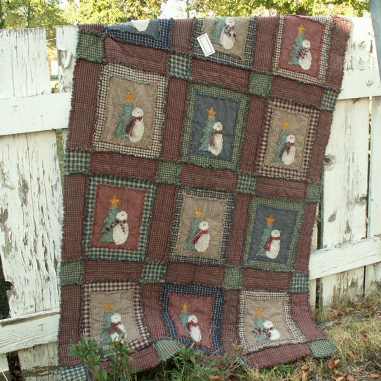 Ragged Shabby Snowman Quilt Pattern - Printed