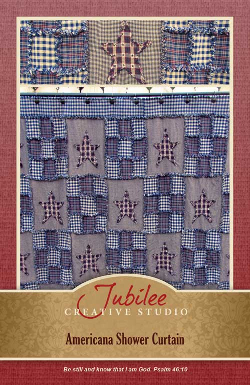 Americana Ragged Shower Curtain Pattern - DIGITAL