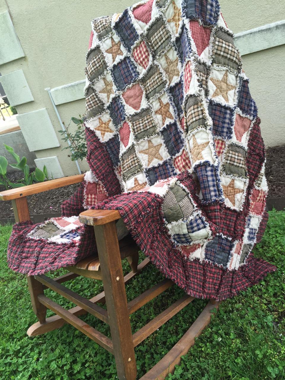 Folk Art Ragged Quilt Throw Pattern - DIGITAL