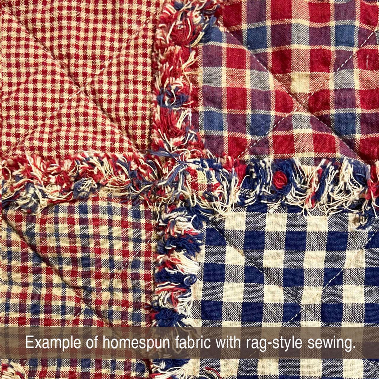 Heritage Navy Blue Mini Buffalo Homespun Cotton Fabric