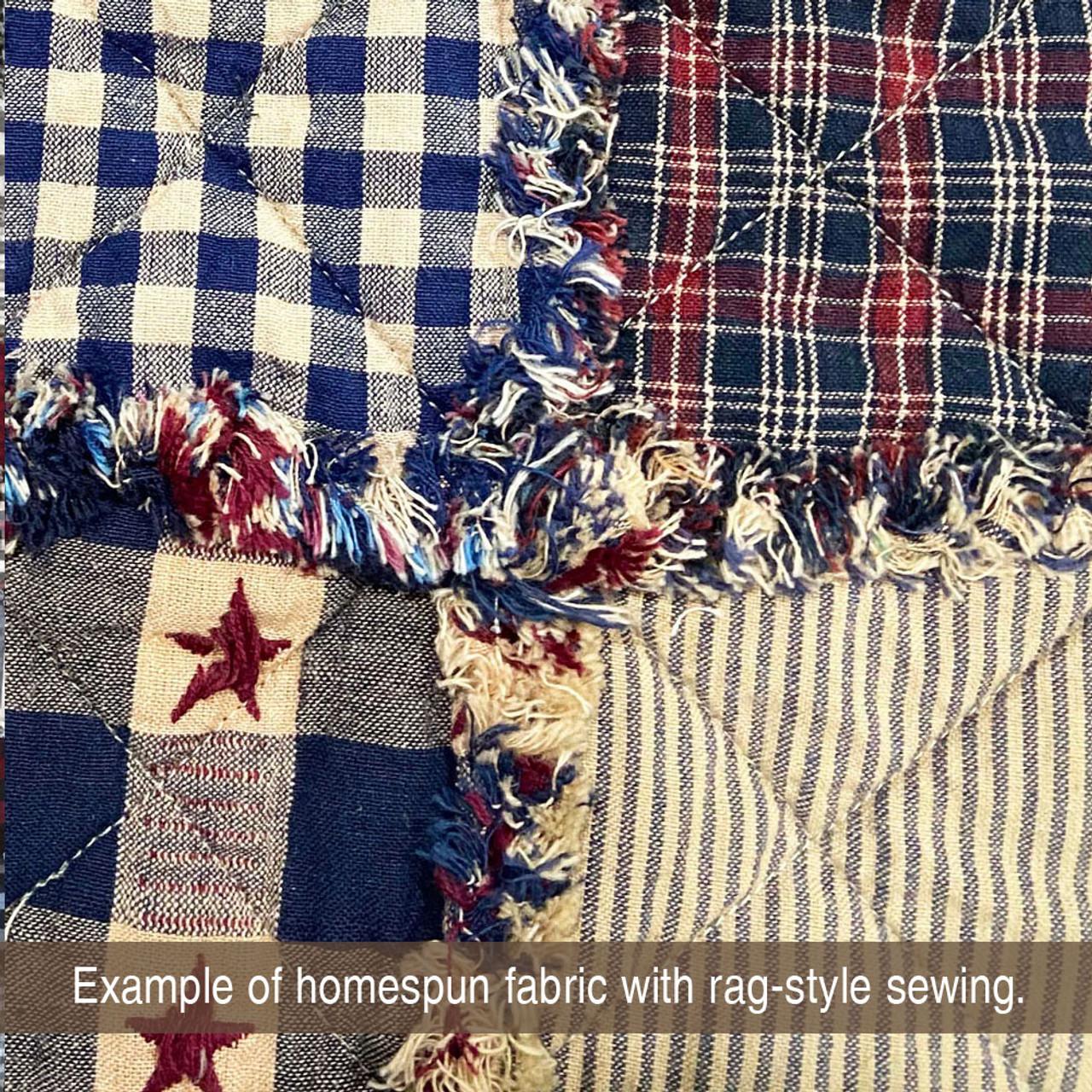 Heritage Navy Blue Thin Stripe Homespun Cotton Fabric